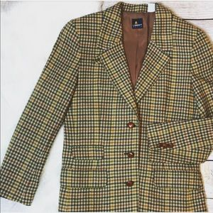 LizSport Herringbone Plaid blazer